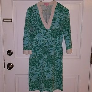 Lilly Pulitzer size small dress blue green white p